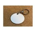 מחזיק מפתחות עץ לבן עיגול